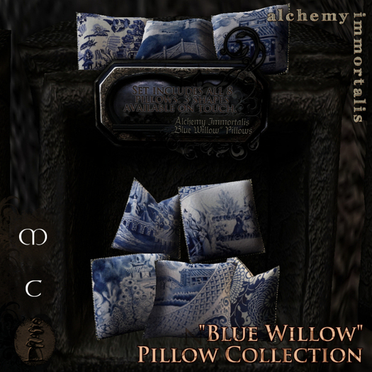 """)AI( Haute Seat Pillow Fatpack - """"Blue Willow"""" Collection [COPY/MODIFY/no transfer]"""