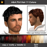 A&A Phil Hair 11 Colors Variety Pack. Short curly men's hairstyle with matching tattoo layer hairbase.