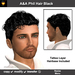 A&A Phil Hair Black (Color 1 from 11 Colors Pack). Short curly men's hairstyle with matching tattoo layer hairbase.