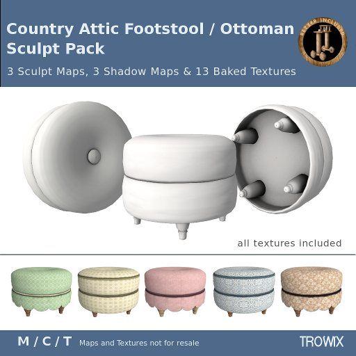 Trowix - Country Attic Footstool / Ottoman Sculpt Pack