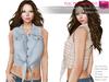 %50SUMMERSALE RIGGED MESH Women's Female Ladies Summer Sleeveless Front Tied Denim Crop Shirt Vest Top - 2 TEXTURES