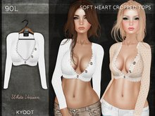 Kyoot - Soft Heart Cropped Top (White)