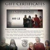 ViGo - Gift Certificate for 800 L$