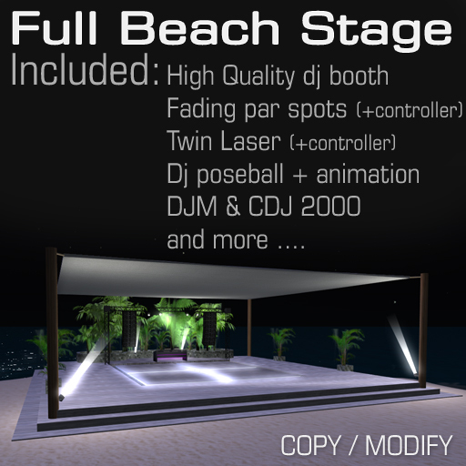 Beach Stage With hq dj booth and lights/laser