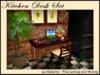 NEW!  Vintage Oak Mesh Kitchen Desk Set -18 Prims!