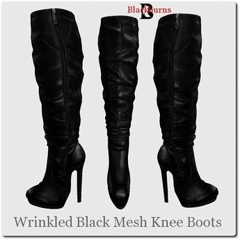 Blackburns Wrinkled Black Mesh Knee Boots with Zipper