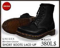 J's Short Boots Laceup (Black)