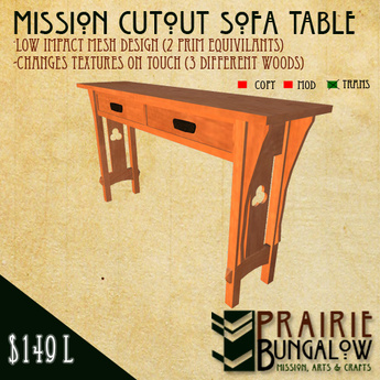 Mission Style Cutout Sofa Or Hall Table