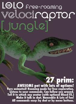 LOLO raptor: free-roaming pet dinosaur: green velociraptor