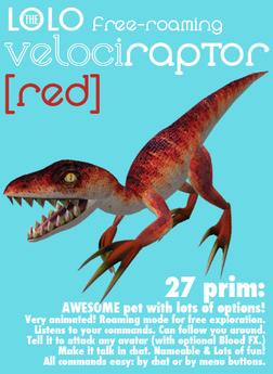 LOLO raptor: free-roaming pet dinosaur: red velociraptor