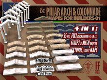 [FFBox] 25x Pillar Arch and Colonnade Set-01 {MESH+Sculpt+Maps, CMT} for Builders