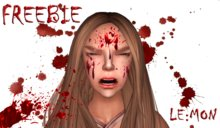 LE:MON bloody face tattoo