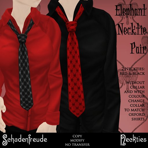 Schadenfreude Elephant Necktie Pair