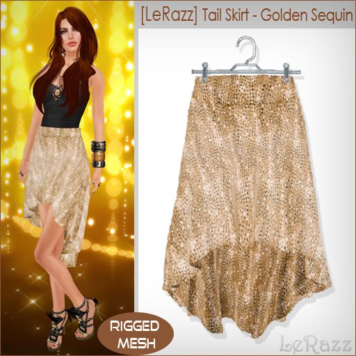 [LeRazz] Tail Skirt - Golden Sequin (Rigged Mesh)