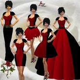 117 Colorblock Red and Black dress, pant,short skirt, evening gown, ballroom gown,