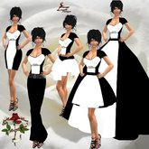 131 Colorblock White & Black Evening Gown , Pant outfit, short dresses