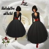 100 Black Evening Gown with red Belt