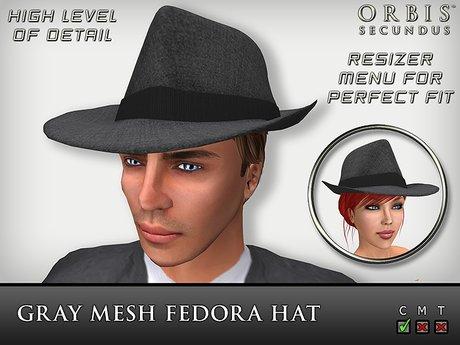 Gray Fedora Hat - Mesh