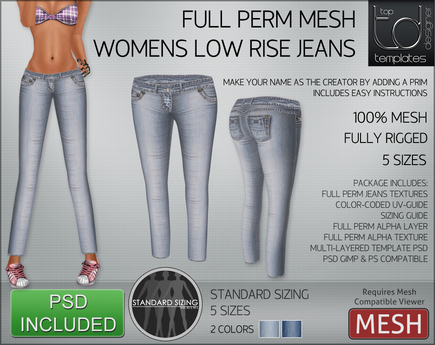 - TD TEMPLATES - Womens MESH Low Rise Jeans *FULL PERMS*