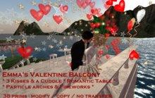 DEMO: Emma's Romantic Balcony: romantic table-kisses-a cuddle & fireworks - set on stilts - 38 prims