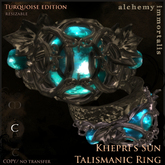 """Khepri's Sun"" Talismanic Ring - Turquoise [COPY/no transfer]"