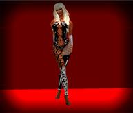 Saphire  - Black Latex Pole Dancer Catsuit