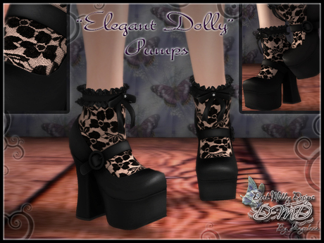 """Elegant Dolly"" Pumps with Lace Socks (BLACK)"