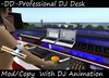 Club DJ Booth with Turntable, Audio Mixer, DJ Animation, Speakers, Keyboard! DJ Gear.