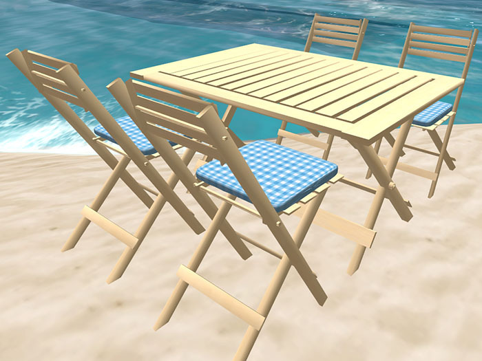 Folding Table and Chairs in Pale
