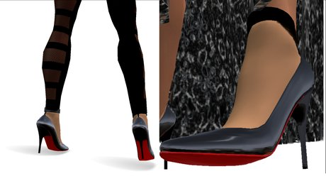 High Heels in Black with Red Sole