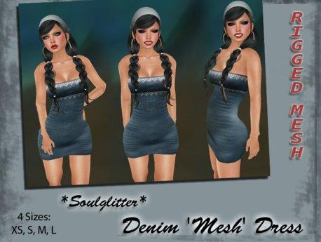 GIFT *Soulglitter* Mesh Dress 'Denim'