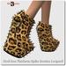 Blackburns Heel-less Platform Spike Booties Leopard