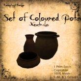 [DDD] Set of 3 Coloured Pots - Neutrals