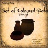 [DDD] Set of 3 Coloured Pots - Vibrant Tones
