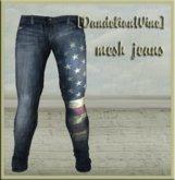 [DandelionWine] Mesh jeans Flag Blue All Size