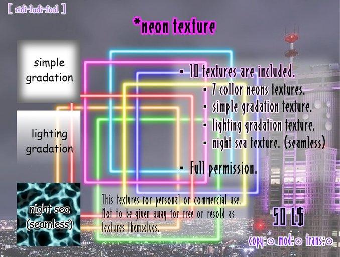 Neon textures + α ★ 10 pieces / Full permission