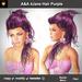 A&A 4Jane Hair Purple. Curly ponytail, elegant swept over the left shoulder.