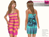 CLASSIC RIGGED MESH Summer Strapless Ruffled Elastic Top Mini Towel Beach Dress with Pockets - 2 TEXTURES