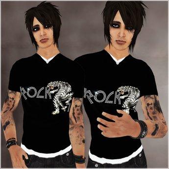 !BH~ Male T-Shirt (3) Black/White