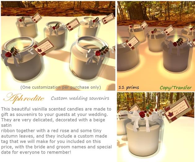 Aphrodite custom wedding souvenirs