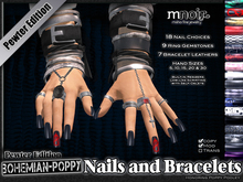 Pewter Fingernails and Bracelets - Bohemian Poppy Nail Edition - by Misha Fine Jewelry & Finger Nails