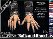 Black-Metal Fingernails and Bracelets - Bohemian Poppy Nail Edition - by Misha Fine Jewelry & Finger Nails
