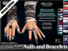 Deluxe-Pack Fingernails and Bracelets - Bohemian Poppy Nail Edition - by Misha Fine Jewelry & Finger Nails