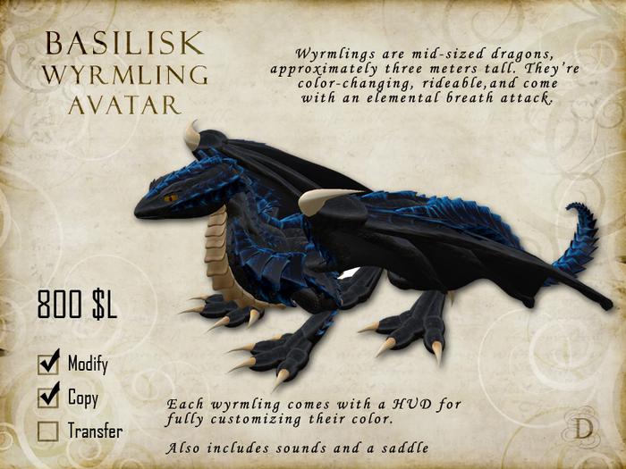 Basilisk Wyrmling Avatar (young dragon)