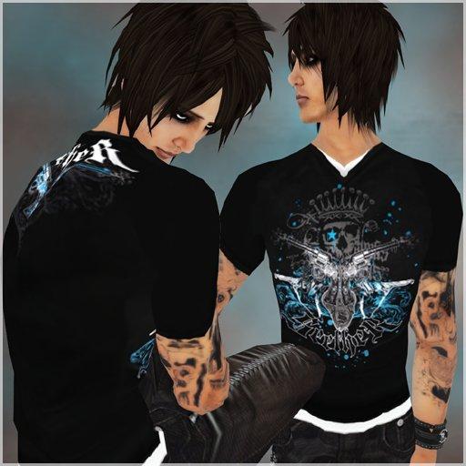 !BH~ Male T-Shirt (2) Black/Blue/White