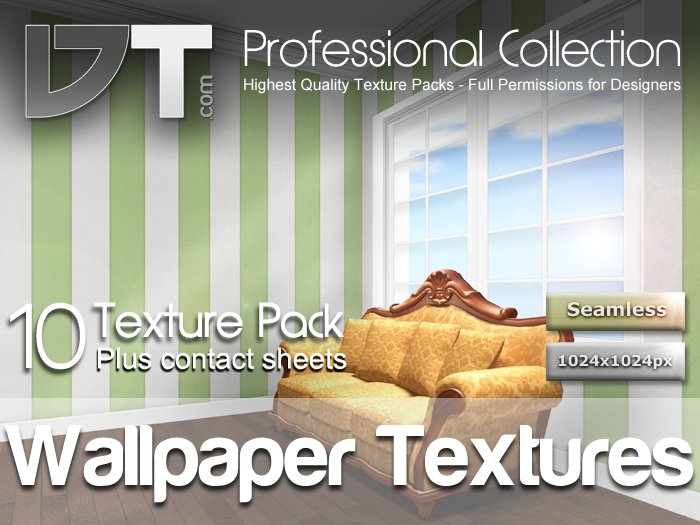 10 Stripey Wallpaper Textures - Full Perm - Classical - DT Professional Collection