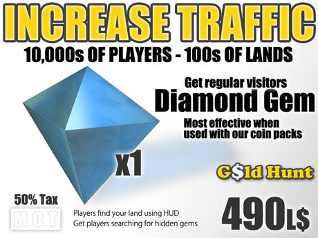 Gold Hunt Diamond Gem - Increase Land Traffic (50% tax)