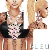- B L E U - Pink Tri Angular Necklace&Earrings *SILVER* (BOXED)