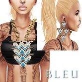 - B L E U -  Blue Tri Angular Necklace&Earrings *GOLD* (BOXED)
