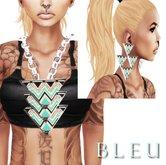- B L E U - Sea Green Tri Angular Necklace&Earrings *SILVER* (BOXED)